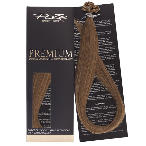 Poze Premium Keratin Extensions Light Brown 8B - 60cm