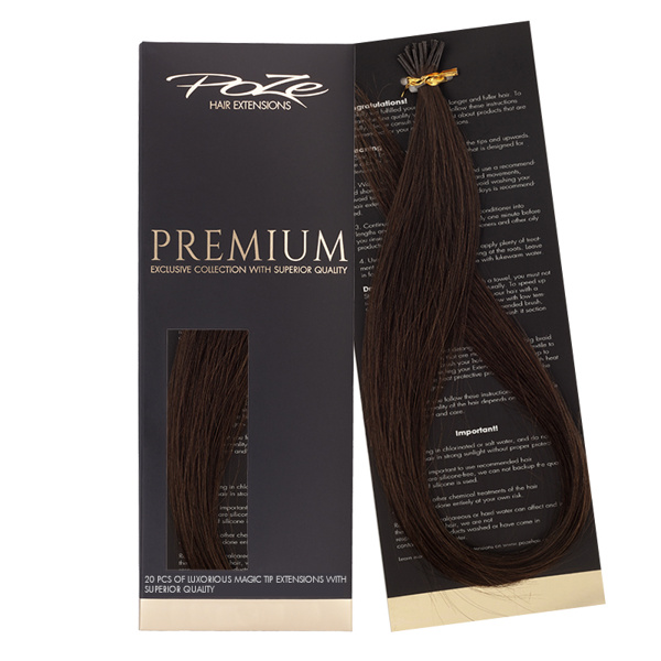 Poze Premium Magic Tip Extensions Chocolate Brown 4B - 50cm