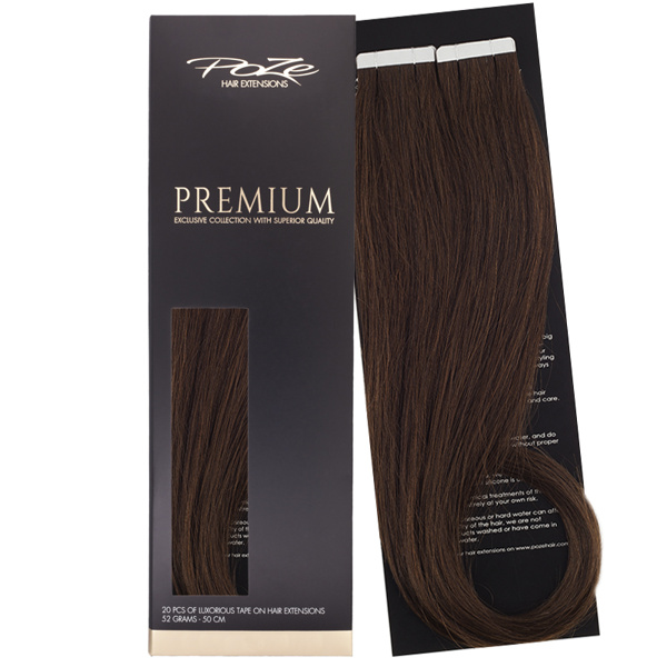 Poze Premium Tape On Extensions - 52g Chocolate Brown 4B - 50cm