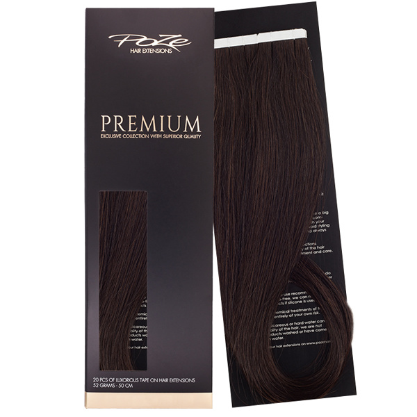 Poze Premium Tape On Extensions - 52g Midnight Brown 1B - 50cm